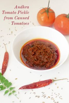 Try using canned tomatoes for making Andhra Tomato Pickle without garlic is very easy and quick way of making Tomato pickle at home.Affordable and tasty. Andhra Recipes, Indian Food Recipes, Vegetarian Recipes, Ethnic Recipes, Tomato Pickle Recipe, Garlic Recipes, Chana Masala, Chutney, Pickles