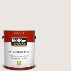 BEHR Premium Plus 1-gal. #PR-W12 Timid White Flat Interior Paint
