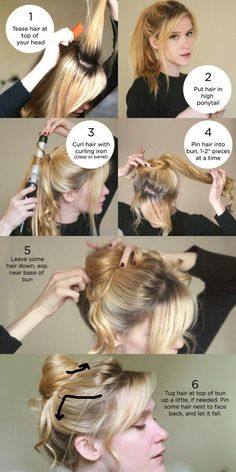 quick and easy bun For an easy and fast bun, here are the steps. We will offer you some quick and easy chignon models with well detailed steps. Quick and easy bun Messy Bun Hairstyles, Braided Hairstyles Tutorials, Down Hairstyles, Trendy Hairstyles, Wedding Hairstyles, Hairstyle Ideas, Bun Tutorials, Homecoming Hairstyles, Beauty Tutorials