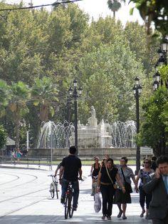 Sevilla. Fuente de la Puerta de Jerez desde la Avenida de la Constitución