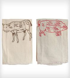Pig & Cow Tea Towels - Set of 2 | This set of two tea towels includes one each of the pig and co... | Kitchen Towels