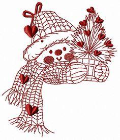 Snowman in love 3 embroidery designe. Machine embroidery design. www.embroideres.com