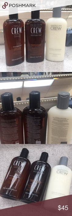 Package brand New Crew bundle includes Power cleanser Style remover daily shampoo ans Citrus Mint  cooling conditioner and light hold Styling Gel all never opened brand new authentic No trades price firm american Crew Other