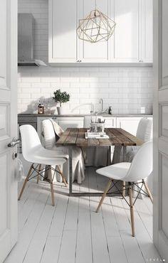 20 Luxury Scandinavian Kitchen Decor Ideas - How to Create? Painting Kitchen Cabinets, Kitchen Tiles, Kitchen Colors, Kitchen Flooring, Kitchen Furniture, Kitchen Interior, White Furniture, Vintage Furniture, Interior Modern