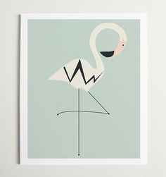 Arte moderno vivero Ave Flamingo por ModernPOP por ModernPOP, $130.00