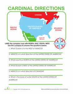 Second Grade Geography Worksheets: Cardinal Directions @ http://www.education.com/worksheet/article/cardinal-directions/ @ http://www.education.com/files/239101_239200/239197/cardinal-directions.pdf