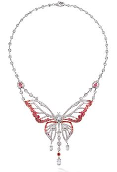 Boodles Papillon necklace with a butterfly centre piece with pierced wings comprised of pink spinels with pear shape and briolette cut diamonds. Mounted in platinum and 18ct rose gold and with an 18ct white gold clasp. Diamonds total 7.83cts, spinels 3.26cts.