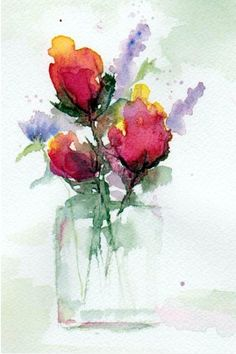 In A Vase, watercolor by Anne Duke