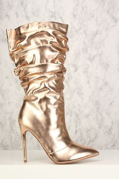 Sexy Rose Gold Pointy Close Toe Slouchy High Heel Boots Thigh High Boots Heels, Heeled Boots, Shoe Boots, High Heels, Buy Boots Online, Rose Gold Heels, Gladiator Boots, Boots Store, Shoe Wardrobe
