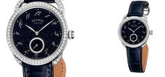 Another exhilarating watch unveiled at this year's Baselworld 2015 Watch Show. Inspired by the night sky, Hermes introduced the new Arceau Ecuyère Aventurine. Underlining elegance with exquisite craftsmanship, the Aventurine touts a midnight-blue patent leather alligator strap, white gold body, and a bezel boasting 74 round cut diamonds, with 28 tiny diamonds embellished on the inner small second's dial. Visit our site for more from Hermes!