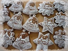These intricately-iced gingerbread cookies look way too gorgeous to eat! They are for hanging on the tree, but of course totally edible.