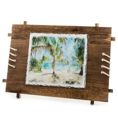 Rectangular Rock Photo with Wooden Frame