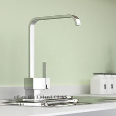 Modern Square Single Lever Chrome Kitchen Sink Faucet