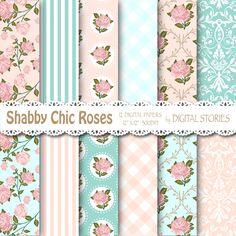 Shabby Chic papel Digital SHABBY turquesa rosa por DigitalStories