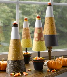 Candy Corn Cones made with cute scrapbook papers & foam cones. Love the button toppers.  #CandyCornTrees #HalloweenCrafts