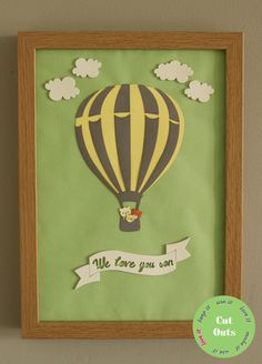 We love you son/daughter. by CutOutsProductDesign on Etsy Our Love, Love You, Nursery Artwork, Hot Air Balloon, Sons, Balloons, Daughter, Unique Jewelry, Handmade Gifts