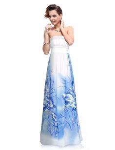 Amazon.com: Ever Pretty Elegant Lady Floral Print Strapless Evening Dress 09277: Clothing