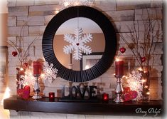 Sweet valentine decorated mantel. Dining Delight