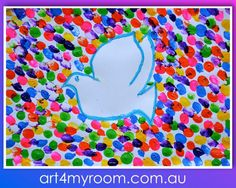 Finger prints, paint and crayon, Peace and harmony, Dove - art for teachers and kids - for this lesson please visit our website
