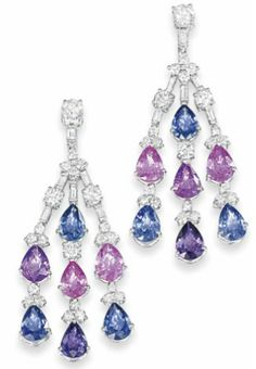 A PAIR OF 18 CARAT GOLD, MULTI-COLOURED SAPPHIRE AND DIAMOND EAR PENDANTS  Of triple drop design, each brilliant-cut diamond top suspending three rows of brilliant and baguette-cut diamond links interspersed with pear-shaped pink, blue and purple sapphire highlights