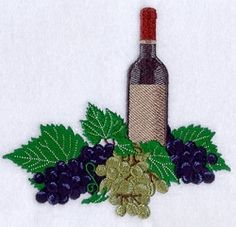 Wine With Fall Grapes - 6x10 | Fall | Machine Embroidery Designs | SWAKembroidery.com Starbird Stock Designs