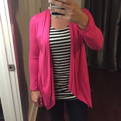 Pink cardigan with attached striped tank Pink open cardigan with attached black/white striped tank. NWOT. Never worn. size small 2/4 Tops Tees - Long Sleeve