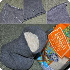 DIY heat bag...a sock, some rice, and a needle and thread!