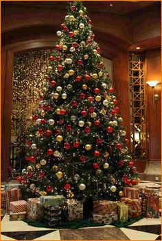 christmas tree decorations with red and gold ball ornaments jpg