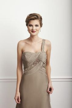 Beautiful one shoulder chiffon gown for #Mother of the Bride or #Mother of the Groom. Available in Bronze and Patina. Click through to see other pictures. This is ideal for the mother who wants a #Mother of the Bride dress that's youthful.