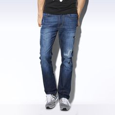 Straight Denim Jeans - blau Denim Jeans, Adidas, Tennis, Pants, Shopping, Fashion, Man Clothes, Blue, Trouser Pants