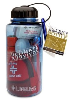 Survival kit in a water bottle. However you choose to carry your first aid kit is fine--just be sure to carry one when you're camping or on a day hike. Camping Survival, Outdoor Survival, Survival Prepping, Emergency Preparedness, Survival Gear, Survival Skills, Survival Blanket, Survival Quotes, Wilderness Survival
