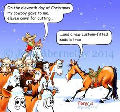 Eleventh Day of Christmas Fergus Funny Horses, Funny Animals, Cute Animals, Christmas Horses, Christmas Ideas, Xmas, Horse Quotes, Horse Sayings, Horse Cartoon