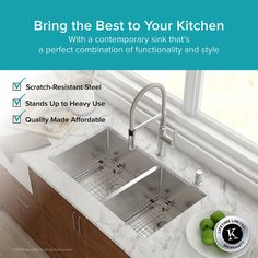 Kraus kitchen sinks are known for sturdy construction and excellent quality. Handcrafted from premium 16 gauge T-304 stainless steel, this undermount sink suits any decor style, from the traditional to the modern kitchen. The extra-deep basin easily accommodates your largest cookware, including baking sheets and stockpots. A rear-set drain provides more usable surface area and storage space under the sink. Commercial grade finish protects the surface from rust and oxidation, with a neutral…