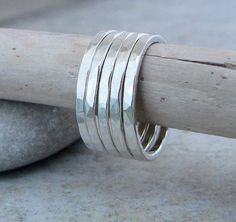 Silver Stacking Rings Hammered Silver Stacking by SilverSmack