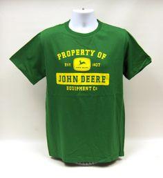 Property of John Deere Short Sleeve  Cotton  Green  Adult  Tee Shirt
