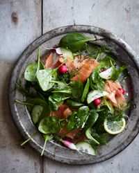 Spinach and Smoked Salmon Salad with Lemon-Dill Dressing. Love!