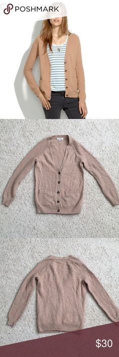 """Madewell Journal Cardigan Sz XS Merino wool Cardigan with textural seed-stitch sleeves. Color is camel. Hits above hip. Length is 22.5"""" armpit to armpit measures 16"""" across. Gently worn with some light pilling. Price reflects wear. No trades or PayPal. Madewell Sweaters Cardigans"""
