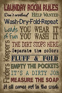 Laundry Room Rules Vintage Primitive Wood Sign