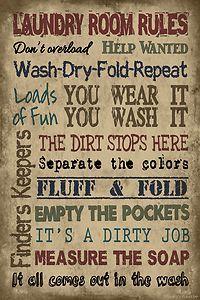 Laundry Room Rules Vintage Primitive Wood Sign