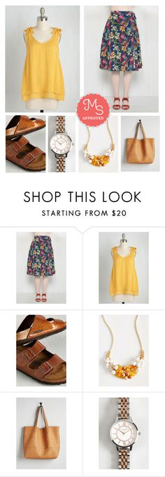 """""""One Shadyside Character Top in Daffodil"""" by modcloth ❤ liked on Polyvore featuring Olivia Burton, modcloth, tropicals and modstylist"""