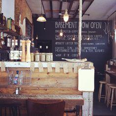 Creperie du Monde, London. Rustic design. Love the blackboard and repurposed timber.