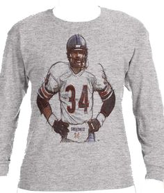 Walter Payton Sweetness Sketch Chicago Officially Licensed Long Sleeve Shirt S-3XL