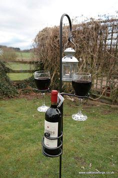 Garden Wine Glass & Bottle Holder with Lantern by OakbeckForge