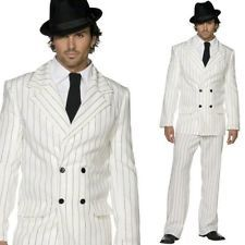 Hommes 1920s Gangster Costume Déguisement – 20s Blanc Fines Rayures Zoot Gangster Suit, 1920s Gangsters, Gangster Costumes, Red Queen, Stripes Design, Black Tie, Fancy Dress, Double Breasted, Suit Jacket