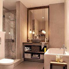 Veldig lekkert bad hos kunde i drivved. Modern Kitchen Design, Corner Bathtub, New Homes, Layout, Interior Design, Mirror, House, Furniture, Instagram