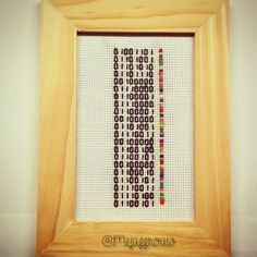 I made this for Father's Day. It says 'Mijn papa is de liefste' (My daddy is the sweetest) in binary code ^^ perfect geek gift!