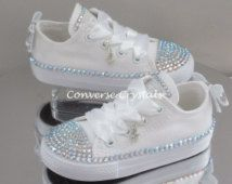 Custom Crystal Full Tongue Bling Converse by ConverseCrystals Bedazzled Converse, Bling Converse, Wedding Converse, Wedding Shoes Bride, Bling Shoes, White Converse, Baby Boots, Baby Girl Shoes, Girls Shoes
