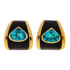 MARINA B Blue Topaz Black Onyx Yellow Gold Earrings