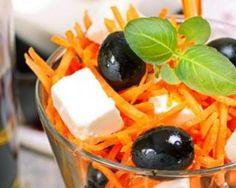 Verrines de carottes râpées, feta et olives : http://www.fourchette-et-bikini.fr/recettes/recettes-minceur/verrines-de-carottes-rapees-feta-et-olives.html