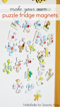 puzzle magnets for kids.kids can help pick out the puzzle and glue magnets to them. Crafts For Teens To Make, Crafts To Sell, Easy Crafts, Diy And Crafts, Kid Crafts, Puzzle Piece Crafts, Puzzle Pieces, Puzzles, Dollar Store Crafts